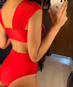 Costum de baie cu slip brazilian si Godess Rosu