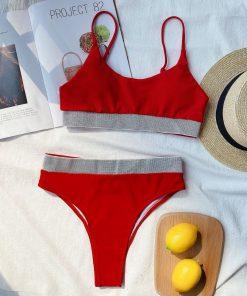 Costum de baie cu slip brazilian si bustiera Volos Rosu