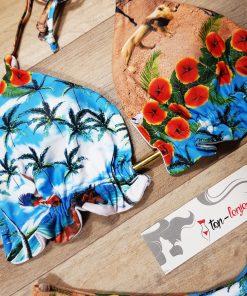 Costum de baie cu slip brazilian si imprimeu Amazon