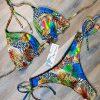 Costum de baie cu slip brazilian si imprimeu Jungle