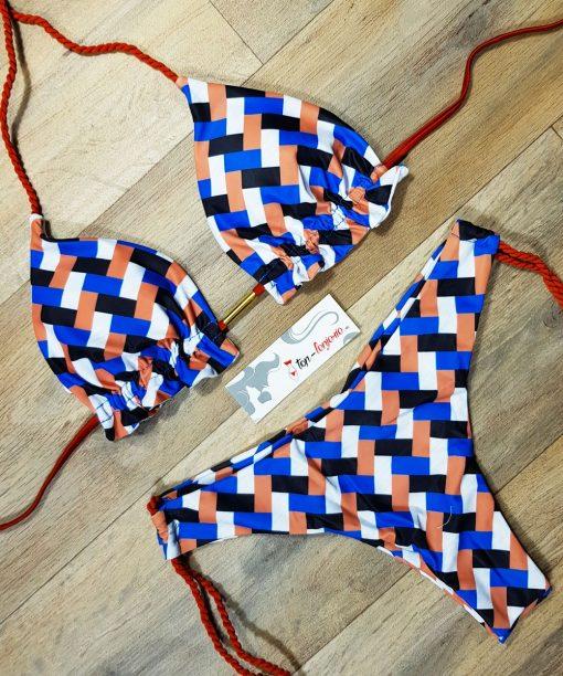 Costum de baie cu slip brazilian si imprimeu carouri Carola