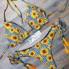 Costum de baie cu slip brazilian si imprimeu flori Jennifer