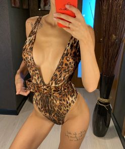 Costum de baie intreg cu decolteu J'adore Leopard