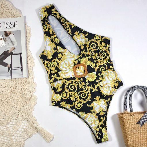 Costum de baie intreg cu imprimeu auriu Ginger