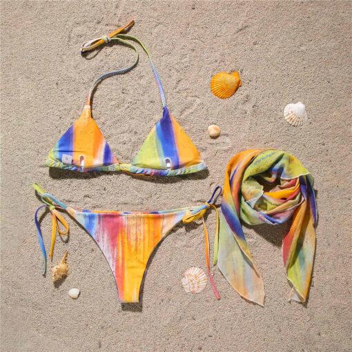 Costum de baie 3 piese cu esarfa Kasandra